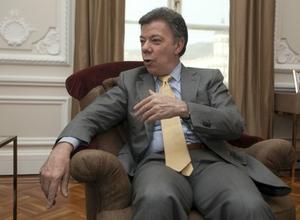 O presidente da Colômbia, Juan Manuel Santos, durante entrevista exclusiva a ÉPOCA. Ele falou de seu gabinete no Palácio de Nariño, sede do governo, em Bogotá (Foto: Juan Manuel Barrero Bueno)