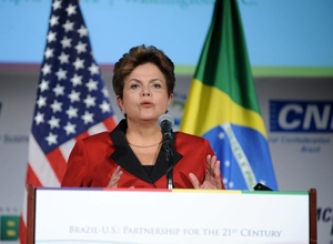 Dilma Rousseff em visita aos EUA (Foto: EFE)