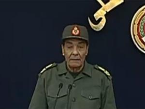 O marechal-de-campo Muhamed Hussein Tantawi, chefe do Conselho Supremo das Forças Armadas do Egito, durante discurso nesta terça-feira (22) (Foto: Reprodução / Al Jazeera)