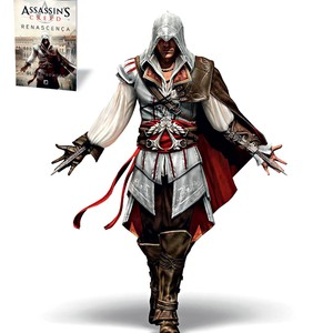ADAPTA&#199;&#227;o O personagem Ezio, de Assassin&#8217;s creed, e a capa do livro inspirado no jogo. Os f&#227;s do game colocaram o livro na lista de mais vendidos (Foto: Divulga&#231;&#227;o)