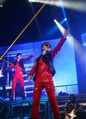 O cantor Justin Bieber durante show  no Z Festival, no estádio do Morumbi, em São Paulo (Foto: Sidinei Lopes / ÉPOCA)