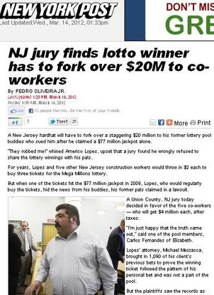 NY Post Loteria (Foto: Reprodução Internet)