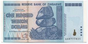Prêmio Ig Nobel: Nota emitida pelo banco central do Zimbábue com o valor de $ 100 trilhões (Foto: Reprodução)