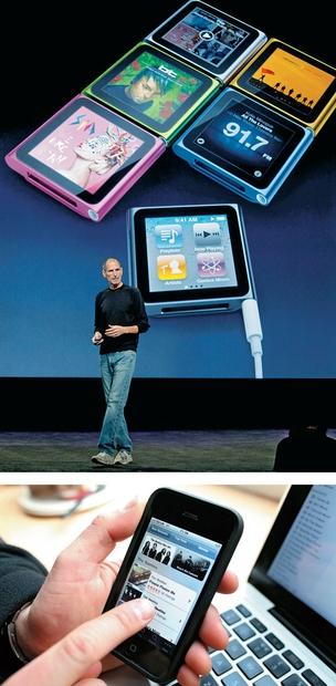 MÚSICA DE BOLSO Steve Jobs (ao lado) apresenta a terceira geração do iPod nano, em 2010. No mesmo ano, a  iTunes Store passou a vender a discografia dos Beatles (Foto: Ryan Anson/AP)
