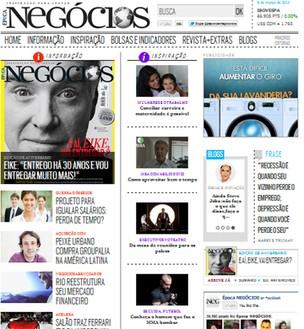 Tela site (Foto: Época NEGÓCIOS)