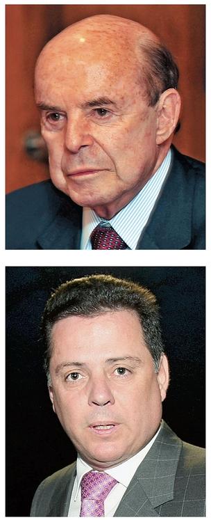 INFLUÊNCIAS No alto, o senador Dornelles,  que emprega dois primos e duas funcionárias irmãs. Acima, Marconi Perillo, que saiu do Senado, mas deixou um sobrinho e uma prima na Casa (Foto: Fábio Costa/JCom/D.A Pre e Celso Junior)