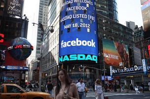 IPO do Facebook - Letreiro da Nasdaq dá boas-vindas ao Facebook (Foto: Getty Images)