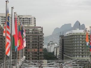 Vista do evento Humanidade - Os morros dos Dois Irmãos e a Pedra da  Gávea (Foto: Clarice Couto/ Época NEGÓCIOS)