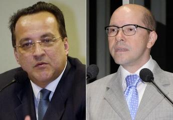 Carlinhos Cachoeira (à esq.) e Demóstenes Torres (à dir.) (Foto: Roosewelt Pinheiro/ABr e Waldemir Barreto/Agência Senado)