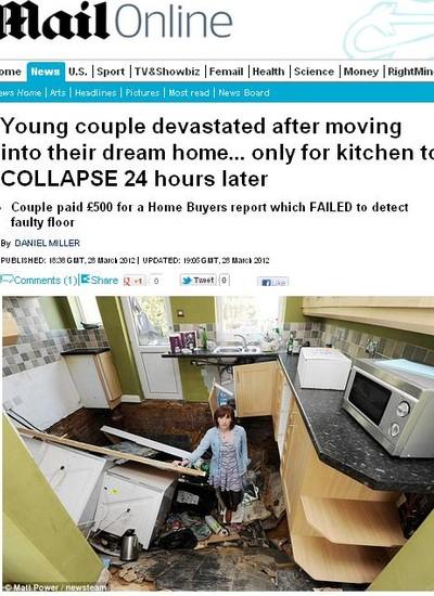 Casa desaba na Inglaterra (Foto: Reprodução Internet)