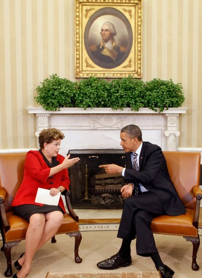 Dilma Rousseff e Barack Obama durante encontro na Casa Branca (Foto: Getty Images)
