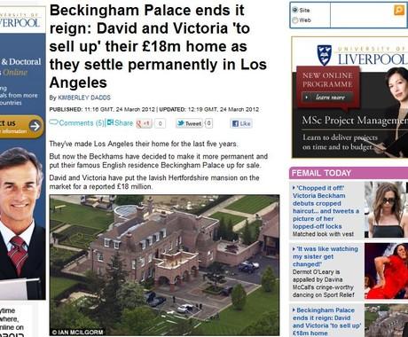 Mansão de David e Victoria Beckham: quer comprar? Está à venda (Foto: Reprodução/Daily Mail)