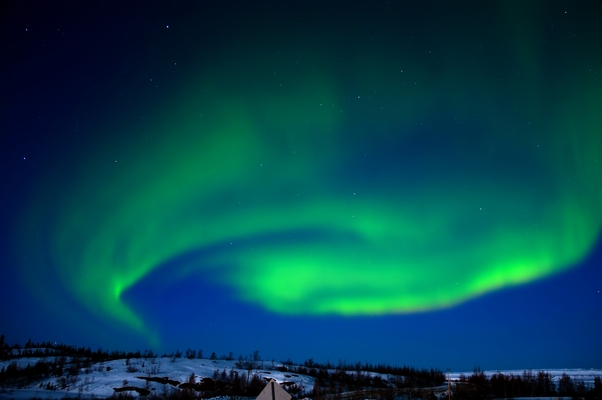 Foto de abril de 2009 mostra aurora boreal vista do solo, no Canadá (Foto: SXC)