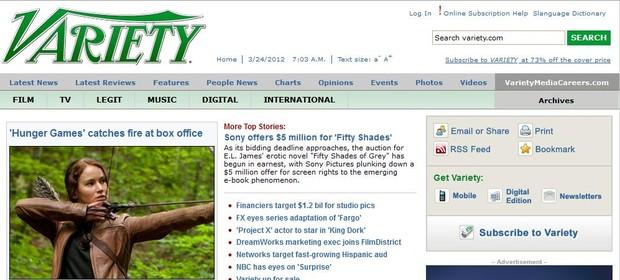 Site do jornal Variety (Foto: Reprodução)