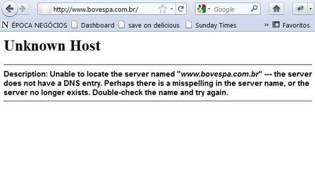 Ataque ao site da Bovespa (Foto: Reprodução)
