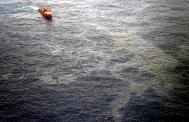 Vazamento da Chevron na Bacia de Campos em novembro de 2011 (Foto: Agência Brasil)