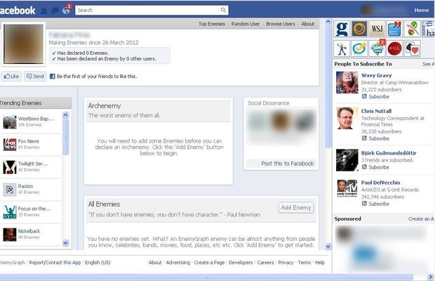 App inimigos Facebook (Foto: Reprodução)