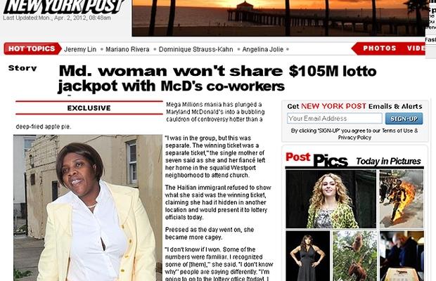 """Mirlande Wilson, uma das ganhadoras do megaprêmio de US$ 656 milhões nos EUA: """"o bilhete é sé meu"""" (Foto: Reprodução internet)"""