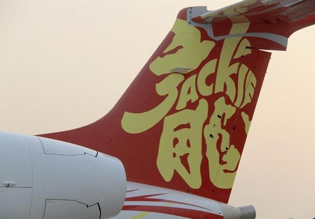 Jato Embraer Legacy 650 customizado para o ator Jackie Chan: campanha para promover aviões brasileiros na China (Foto: EFE)