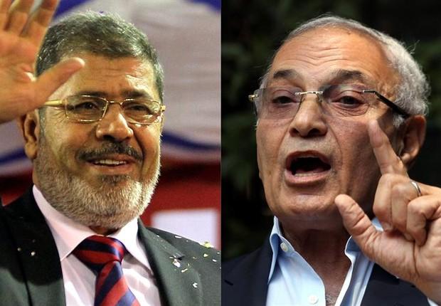 Fotografia mostra os candidatos à presidência do Egito que irão disputar o 2° turno, Mohammed Mursi (esquerda) e Ahmed Shafiq (direita) (Foto: Khaled Elfiqi/EFE)