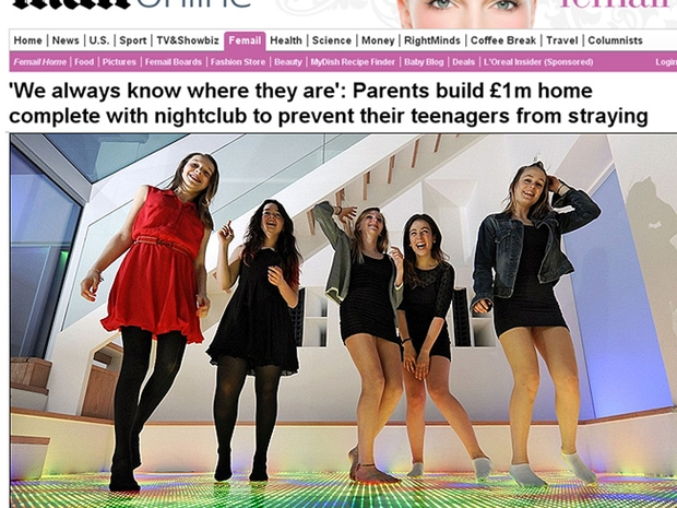 Casa com pista de dança para adolescentes: reforma custou R$ 3 milhões (Foto: Reprodução/Daily Mail)