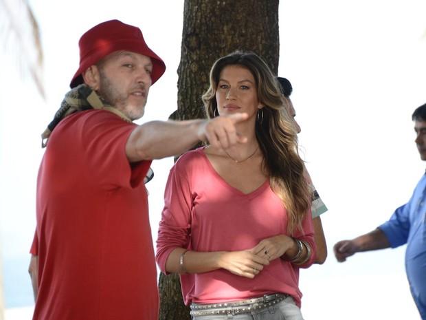 Gisele Bundchen grava comercial da C&A no Rio de Janeiro (Foto: Luciana Prezia)