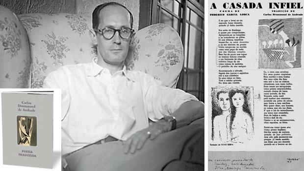 ENGAJADO  O poeta Carlos Drummond de Andrade em 1951, ano em que planejava reunir suas traduções de poemas sociais em livro. O volume que sai agora inclui o poema do espanhol Federico García Lorca (à dir.), publicado na revista Esfera, nos anos 1940  (Foto: acervo CDA)