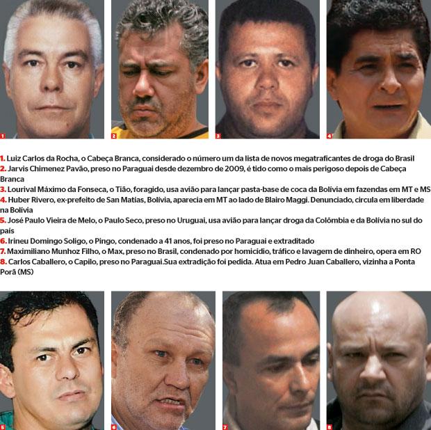 novos traficantes (Foto: reprodução, Otimex/Xinhua/Cor/Clj, Governo do  Estado de MT, AP, arq. Folha de Rondonia e Newscom )