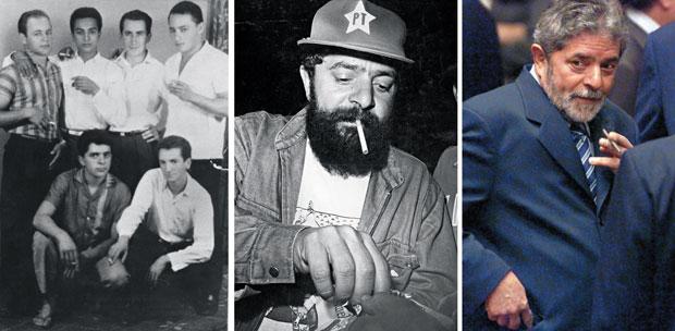 VÍCIO ANTIGO Lula fumou desde jovem. Na foto da esquerda, ele é o rapaz agachado de camisa escura. Acima, uma imagem de 1987. À direita, em 2003, fuma uma cigarrilha (Foto: arquivo pessoal cedido a Denise Paraná publicada no livro: Lula O filho do Brasil, arquivo/Ag. O Globo e Flávio Florido/Folhapress)
