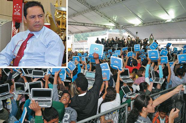 UMA FORÇA Crianças com laptops em Piraí, Rio de Janeiro (no alto) e Balalaica (acima). Os laptops foram citados por ele na reunião com parlamentares interessados em verbas  (Foto: reprodução e Rodrigo Pae)