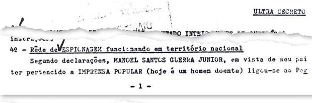 A REDE Um dos poucos documentos ultrassecretos do Cenimar afirma que havia uma rede de espionagem da CIA funcionando em território nacional antes do golpe militar de 1964 (Foto: reprodução)
