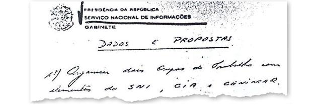 """A ASSOCIAÇÃO Documento do SNI, arquivado no Cenimar, trata da associação  dos serviços secretos brasileiro e americano. Diz o texto: """"Organizar dois grupos de trabalho com elementos do SNI, CIA e Cenimar""""  (Foto: reprodução)"""