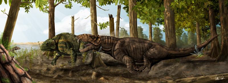 O antigo predador pampaphoneus ataca há 260 milhões de anos um pareiassauro herbívoro no que hoje é o Rio Grande do Sul autor: Voltaire Neto  (Foto: Foto: Reprodução)