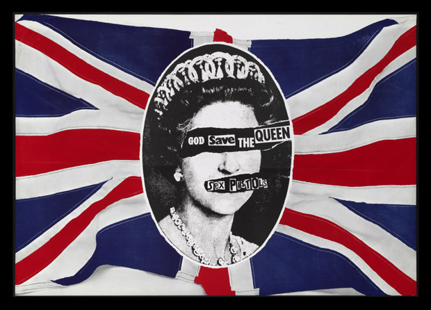 Poster promocional dos Sex Pistols, 'God Save the Queen', por Jamie Reid