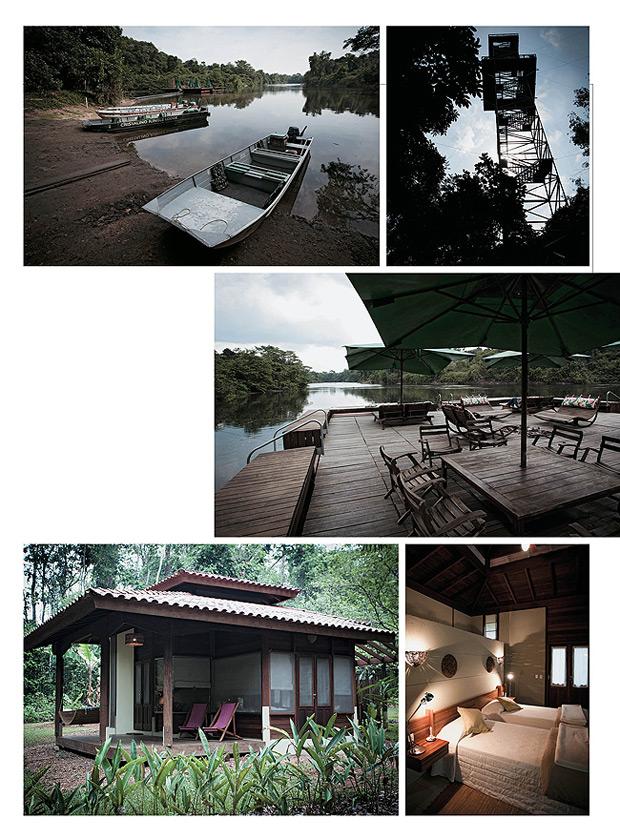 No meio da floresta O hotel está instalado numa área de 7 mil hectares. Seu projeto virou referência em conservação. Os hóspedes podem admirar a Amazônia da terra, da água e do alto. Canoas e caiaques navegam pelo rio Cristalino. Duas torres de observação (Foto: Stefano Martini)