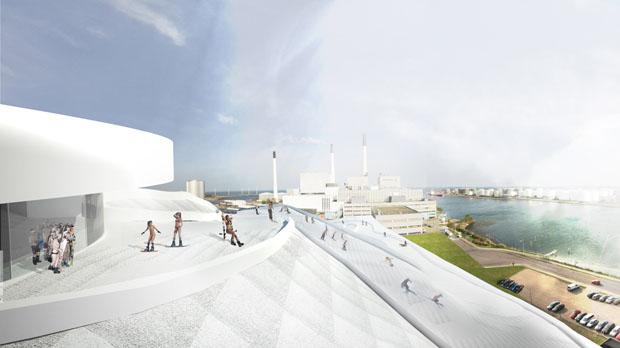 Projeto de futura pista de esqui sobre usina de reciclagem, Copenhague