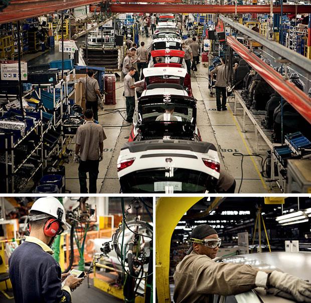 EM BETIM A fábrica da Fiat produz um carro a cada 20 segundos. Não há estoques, a produção segue o conceito just in time. Todas as etapas estão em Betim, da prensagem das chapas à colocação dos acessórios. A fábrica emprega 15.374 funcionários diretos e 8 (Foto: Vicente França)