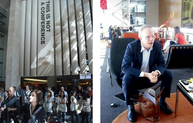 À esq., o Conferencel Hall, onde acontecem as apresentações dos speakers; à dir., Hans Ulrich Obrist, curador (Foto: Artur de Andrade)