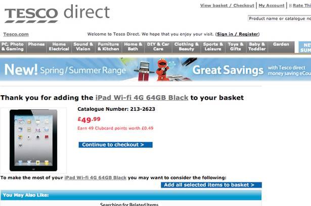 Tesco Oferta iPad (Foto: Reprodução Internet)