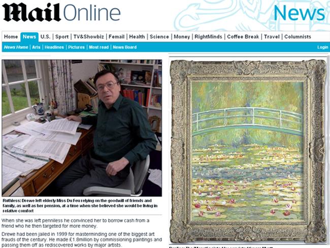 John Drewe, falsificador britânico e réplica de obra de arte, atribuida a Monet (Foto: Reprodução Internet)