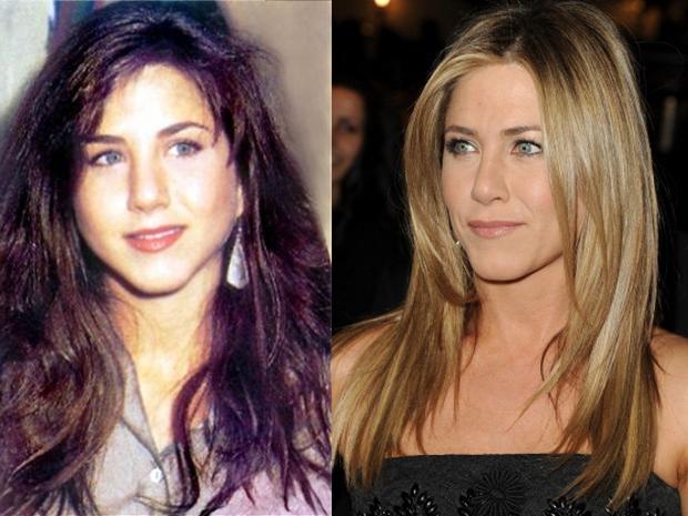 Jennifer Aniston em foto antes e depois (Foto: Reprodução Internet e Getty Images)