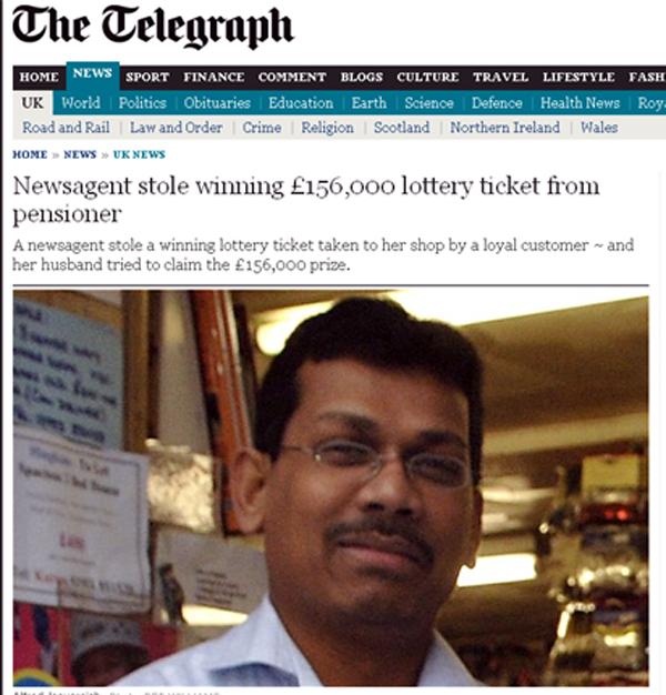Lojista que tentou roubar bilhete premiado da loteria (Foto: Reprodução Internet)