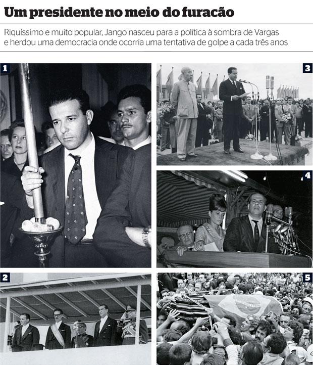 TRAJETÓRIA1. Jango no velório de Vargas, que  o nomeou seu herdeiro político 2. Jango (à esq.) ao ser empossado como vice- presidente de Jânio (ao centro). Ele também foi vice de JK (à dir.)  (Foto: CPDOC/FGV/CDA Vargas, arq. AE, CPDOC/FGV/arq.Evandro Lins e Silva, arq. Ag. O Globo e Ag. RBS)