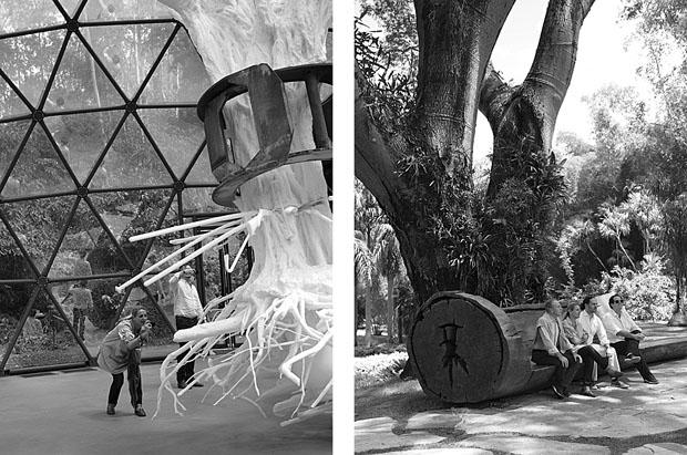 À esq., Patricia fotografa a obra de Matthew Barney; à dir., Busnelli, Patricia, Alberto Zantone e Barboza fazem uma pausa para descansar