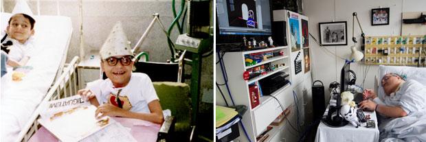 Paulo Henrique Machado, o melhor amigo de Eliana e o único que sobreviveu além dela, na infância no hospital. Na cama, o pequeno Pedro, que morreria em 1992.  Hoje, aos 44 anos, Paulo tornou-se designer gráfico e começa a trabalhar com filmes de animação (Foto: Arquivo Pessoal e Vitor Salgado / Divulgação)