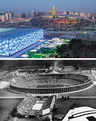 O TRANSITÓRIO E O PERMANENTE Acima, o estádio Ninho de Pássaro e o Cubo d'Água, construídos para os Jogos de Pequim de 2008.  O Cubo d'Água encantou pelas formas, mas virou um elefante branco. Ao lado, o estádio de Berlim, construído para a  (Foto: Christian Kober/Getty Images e AFP)