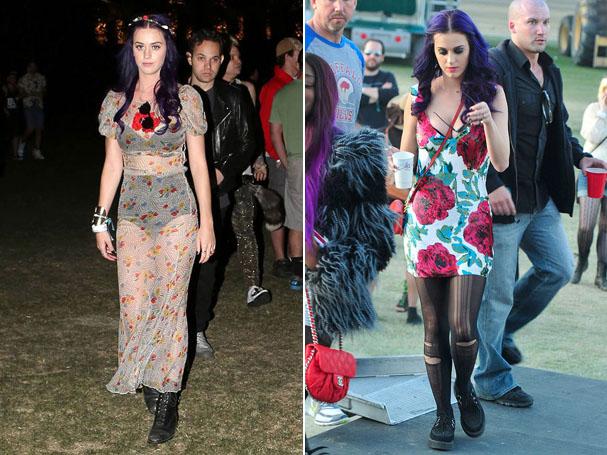 Katy Perry apostou nas flores para estampar os vestidos usados no festival (Foto: Reprodução)