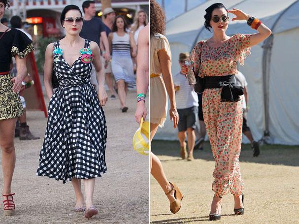 Dita Von Teese nos dias 21 e 22 de abril, no Coachella (Foto: Reprodução)