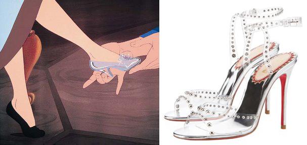 Sapatinho de cristal de Cinderela e uma criação de Louboutin (Foto: Divulgação)