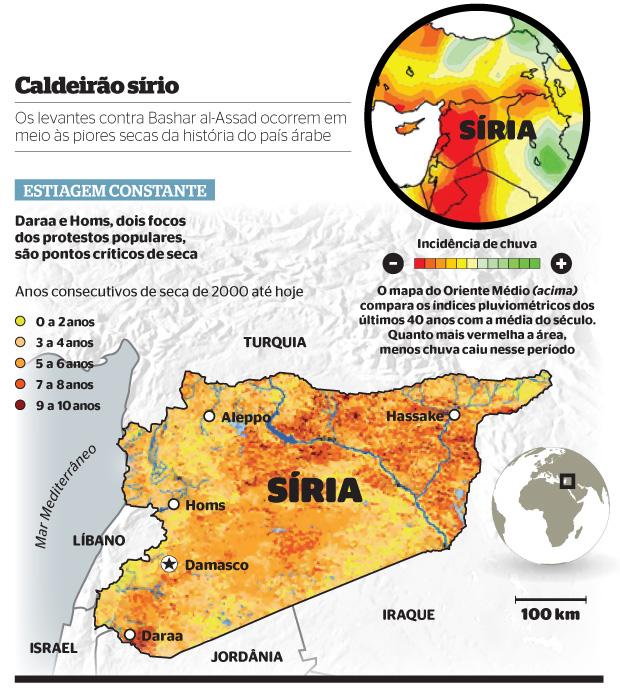 Caldeirão sírio (Foto: Fontes: Nações Unidas e Escritório Oceânico e Atmosférico dos EUA)